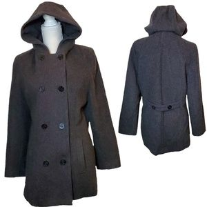 Vtg. Herman Kay Charcoal Grey Hooded Peacoat
